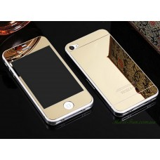 Захисне скло iPhone 4 / 4S Золото 2in1 (front+back)