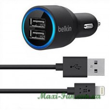 АЗУ Belkin 2*USB 2.1A Black + USB кабель iPhone 5, 6, 7, iPad 4, mini BK071