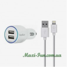 АЗП Belkin 2*USB 2.1A White + USB кабель для iPhone 5, 6, 7, iPad 4, mini BK071