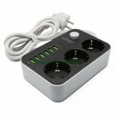 Сетевой фильтр с зарядкой для телефона LDNIO SC3604 3.4A, 6*USB + 3 розетки