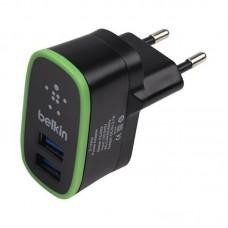 Мережевий ЗП Belkin 2*USB 2A + кабель iphone 5, 6, 7 (BK670) Black