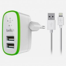 Мережевий ЗП Belkin 2*USB 2A + кабель iphone 5, 6, 7 (BK670) White