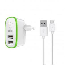 Мережевий ЗП Belkin 2*USB 2A + кабель microUSB (BK670) White