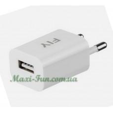 Мережевий ЗП Fly 1.5А USB з кабелем microUSB White